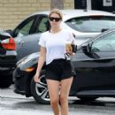 Ashley Benson in Shorts at Starbucks in Studio City