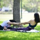 Rebecca Black – Doing yoga at the park in Beverly Hills - 454 x 343