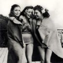 Joan Collins (centre) on the set of Lady Godiva Rides Again, together with Pat Marlowe and Simone Silva