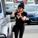 Hilary Duff in Black Spandex at Sweetgreens in Studio City