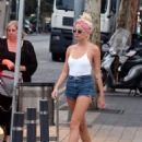 Pixie Lott in Denim Shorts Out in Barcelona - 454 x 570