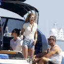 Gigi Hadid in Pink Bikini on a boat in Mykonos