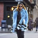 Suki Waterhouse in Blue Fur Coat out in Soho February 3, 2017 - 454 x 614