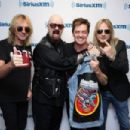 Glenn Tipton, Rob Halford and Richie Faulkner along with host Jim Breuer attend SiriusXM's Town Hall series with Judas Priest on July 8, 2014 in New York City