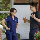 Emma Stone, Andrew Garfield and Sally Field on the set of