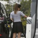 Lea Michele in Black Mini Skirt at a gas station in Los Angeles