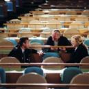 Sean Penn, director Sydney Pollack and Nicole Kidman on the set of Universal Pictures' thriller The Interpreter 2005