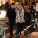 Emma Stone with Andrew Garfield on the set of