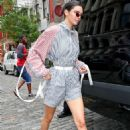 Kendall Jenner wearing a Striped Jumpsuit in NYC