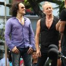 Joe Elliott, Phil Collen and Vivian Campbell of Def Leppard appear for a performance and interview with Mario Lopez of 'Extra' at The Grove, California on June 1st, 2012 - 387 x 594
