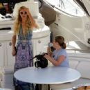 Paris Hilton in Long Dress – On a Yacht in Mykonos