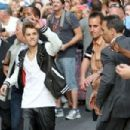 "Justin Bieber gets mobbed by fans as he leaves ""Late Night with David Letterman June 20, 2012"