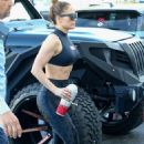 Jennifer Lopez in Black Tights and Top – Outside a yoga studio in Miami