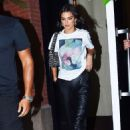 Kendall Jenner in Black Leather Pants – Out in New York