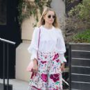 Dianna Agron in long floral skirt out in Soho - 454 x 654