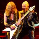 Judas Priest perform on stage at the Brisbane Entertainment Centre on September 10, 2008 in Brisbane, Australia