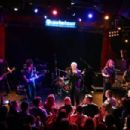 Musician Billy Idol perform onstage with musicians Steve Stevens and Billy Morrison for SiriusXM's Artist Confidential Series at The Troubadour on October 22, 2014 in Los Angeles, California