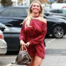 Christine McGuinness in Red Mini Dress – Out in Cheshire - 454 x 797