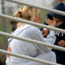 Pamela Anderson In White Sweats At Her Kids' Baseball Game In Malibu - Apr 5 2008