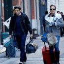 margarita levieva with her boyfriend sebastian stan in New York City's Tribeca district