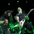 Joey Belladonna & Scott Ian of Anthrax perform during the Las Rageous music festival at the Downtown Las Vegas Events Center on April 21, 2017 in Las Vegas, Nevada - 454 x 352