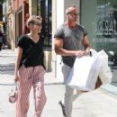 Sharon Stone and a male friend are spotted out shopping in Beverly Hills, California on August 4, 2016