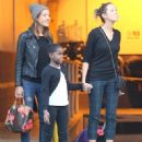 Mercy James stops to visit her mother Madonna at a dance studio in West Hollywood, California on January 25, 2014
