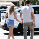 LeAnn Rimes in Jeans Shorts Leaving the Nobu in Malibu - 454 x 588