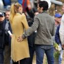 "Blake Lively dons a school uniform while shooting scenes for an upcoming episode of ""Gossip Girl"" along the Hudson River. The CW series was filming along the Hudson River in Piermont, New York."