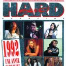 Angus Young, Axl Rose, James Hetfield, Nuno Bettencourt, Jon Bon Jovi, Krist Novoselic, Kurt Cobain, Dave Grohl, Anthony Kiedis, Dave Mustaine, Steve Harris, Bruce Dickinson - Hard Force Magazine Cover [France] (December 1992)