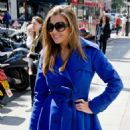 Imogen Thomas In Blue Coat Out and About In London
