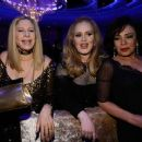 Barbra Streisand, Adele, winner of the Best Original Song award for 'Skyfall,' and Shirley Bassey attend the Oscars Governors Ball