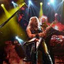 Richie Faulkner and Rob Halford of Judas Priest perform at The Pearl Concert Theater at the Palms Casino Resort on November 14, 2014 in Las Vegas, Nevada