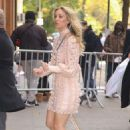 Kaley Cuoco in Light Pink Outfit – Leaving her hotel in NYC