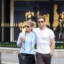 Kate Mara in Mini skirt with Jamie Bell out in Paris - 454 x 740