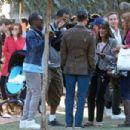 Lea Michele On Set Of Glee In La