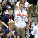 David Beckham seen with his three sons Brooklyn, Cruz and Romeo at the Aquatic Centre during the London Olympics (August 11)