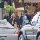 Jenny Garth and Luke Perry meet up for lunch at Cafe Aroma in North Hollywood. November 29, 2012