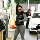 Jemma Lucy in Tights at a gas station in London - 454 x 636