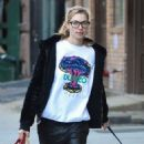 Model Jessica Hart is spotted walking her pooch in New York City, New York on November 16, 2014
