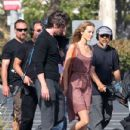 """Christian Bale and Isabel Lucas film for their upcoming movie """"Knight of Cups"""" in Marina Del Rey , California on June 29th, 2012"""