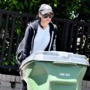 Naya Rivera in Tights – Steps out to grab her trash cans after garbage day in Los Feliz - 454 x 681