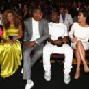 Jay-Z and Kanye West and television personality Kim Kardashian attend the 2012 BET Awards at The Shrine Auditorium on July 1, 2012 in Los Angeles