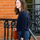 Anne Hathaway filming a scene on the set of 'The Intern' in New York City, New York on September 3, 2014