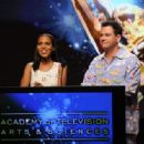 Jimmy Kimmel and Kerry Washington at the Emmy nominations special (July 19)