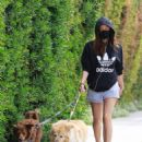 Aubrey Plaza – In shorts out for a stroll with her two dogs in Los Feliz