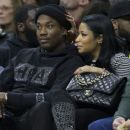 Meek Mill and Nicki Minaj watch the game between the Golden State Warriors and Philadelphia 76ers on January 30, 2016 at the Wells Fargo Center in Philadelphia, Pennsylvania