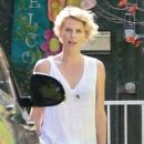 Charlize Theron picking up her son Jackson from school in Los Angeles, California on April 22, 2014