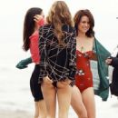 AnnaLynne McCord, Jessica Stroup and Jessica Lowndes in their swimsuits while filming