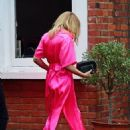 Kylie Minogue – In an electric pink silk outfit in South London - 454 x 663